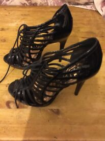 Black office high heeled sandals