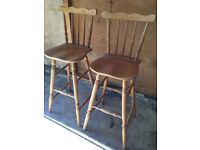 2 Solid Pine Breakfast Bar High Chairs