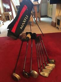 Mixed set of golf clubs & bag