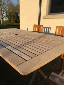 Solid Teak Table and six carvers