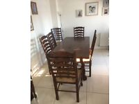 Solid dining table and 8 chairs