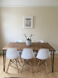 dining table wood rustic industrial handmade UK