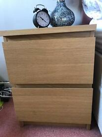 2 draw bed side cabinet