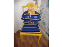 UPCYCLED LEEDS RHINO CHAIR WITH OFFICIAL LEEDS RHINO SHIRT CUSHION BARGAIN AT £30 NEWLY DONE BARGAIN