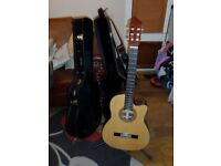 Crafter junior acqustic guitar with hard case.