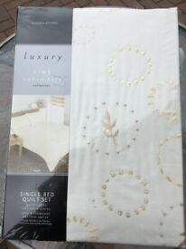 Luxury Single Bed Quilt & pillow case. Beautiful Fine Embroidery design on Cream quilt. £9