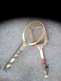 Pair of very old tennis rackets