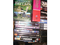 LARGE BOX OF 40 DVDs INCLUDING 21 BOXSETS