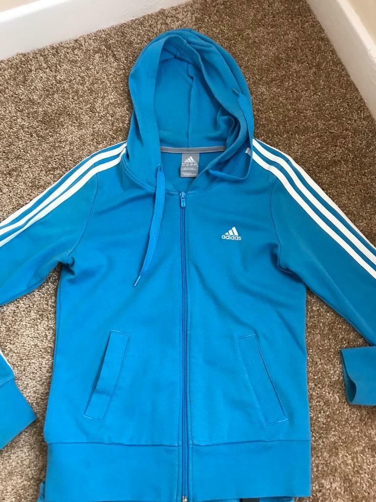 Ladies Adidas set. Hooded zip hoodie and 3 4 joggers size 12  8bd07f15e