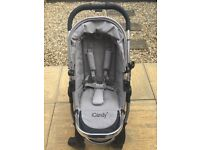 iCandy Peach 2 Pushchair & Carrycot (single) with parasol & footmuff - Silver Mint
