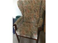 Winged vintage patterned armchair
