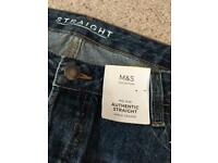 M&S new authentic straight jeans size 16