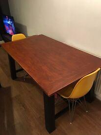 Large Oak Veneer Dining Table - Seats 6
