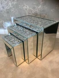 New set of 3 crushed diamonds crystals mirrored nest of tables