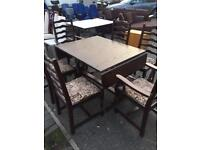 Solid oak antique dining table & 6 Chairs