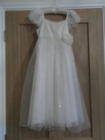 Monsoon Age 8-9 Stunning Cream and Gold Dot Dress Bridesmaid/Flower Girl/ Other Special Occasion