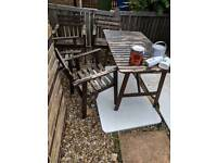 Solid Wood Garden table and 4 armrest chairs free delivery