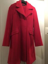 French Connection Red ladies wool coat - Size 12