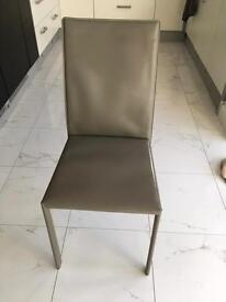 4 Grey Real Leather Modern Dining Chairs