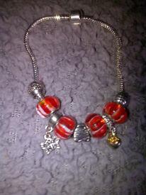 Red Pandora Style Charm Bracelet