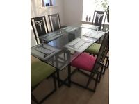 Danks Design dining table and chairs, also console table, mirror , lamp and 6 glass table mats