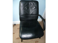 Leather effect office chair, good condition, tubular metal frame.