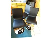 3 x John Lewis Kitchen Chairs - Leather effect with chrome swivel base