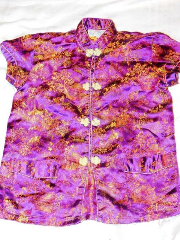 Chinese Silk Pajamas Costume Childs Sz. 10 Purple Asian China Traditional Blouse