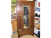 Antique oak wardrobe with mirrored door and shoe drawer £80