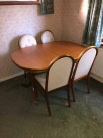 SUTCLIFFE TEAK DINING TABLE EXTENDABLE FOLDING VINTAGE EXTENDING + 4 FREE CHAIRS