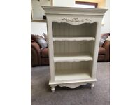 Distressed look white bookcase