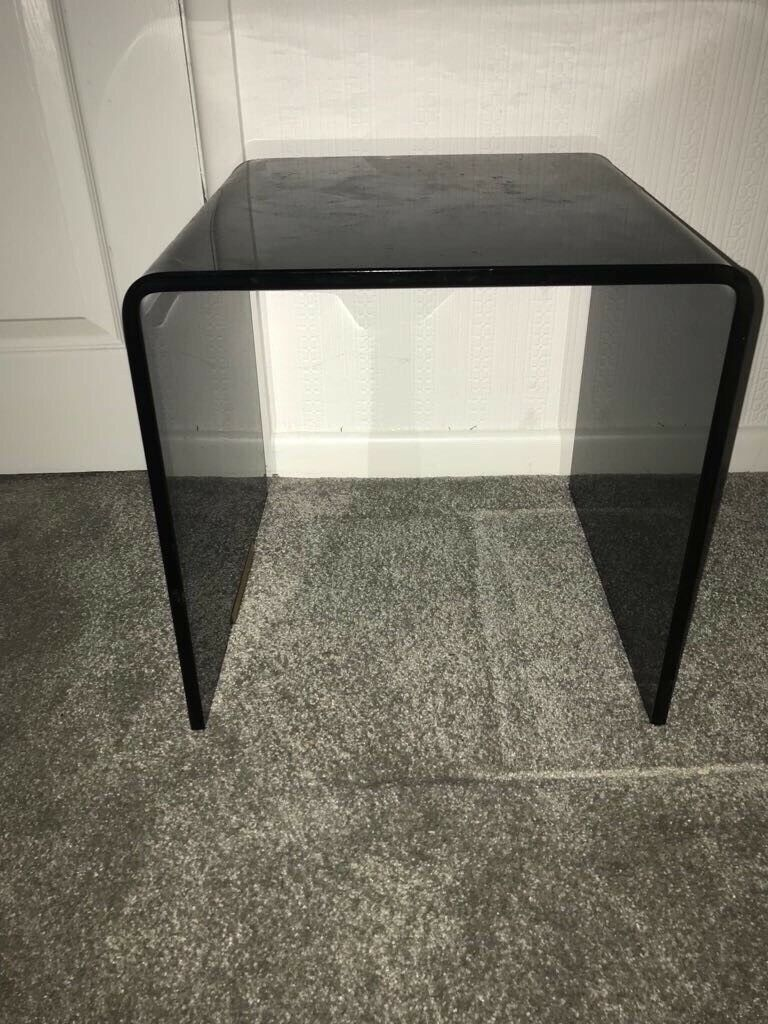 Black Smoked Glass Side Table