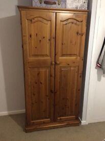 Solid wooden pine wardrobe - £80