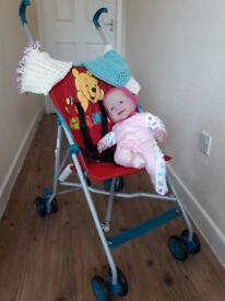 Doll, Pram and clothing