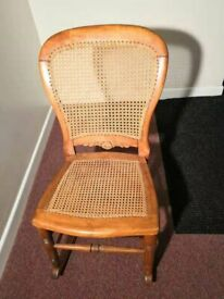 Victorian Light oak and rattan rocking chair For Bedroom or Nursery (Best Offer)