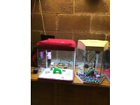 2 x 28l fish tank both v g c and full set up with light filter lid gravel ornament all work in pic