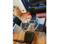 Glass Table with 4 Leather chairs