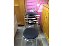 4 X BLACK AND CHROME DINING CHAIRS GOOD CONDITION