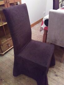 SET OF FOUR, SKIRTED, HIGH BACKED PADDED DINING CHAIRS WITH OAK LEGS,