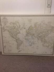Antique-style world map canvas picture, £15obo, MUST SELL ASAP offers considered