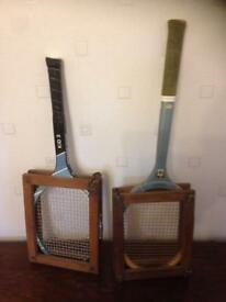 2 x Vintage tennis rackets with storage frames