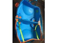 Blue trunki ride on kids small suitcase