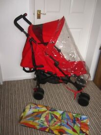 Excellent! Mothercare Nanu Plus Stroller Red + raincover + reversible seat liner