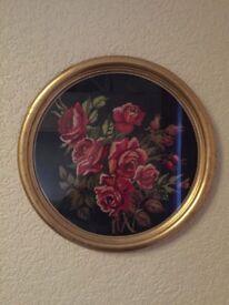 Gold Framed Embroidered Rose