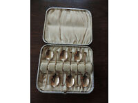 Vintage set of six silver guilt coffee spoons by James Dixon & Son