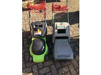 Pair of electric lawnmowers