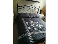 Double bed, bed, mattress, bed with mattress, metal bed, black bed