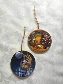 2 DISNEY 3D China Christmas Hanging Ornaments