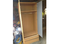 Wardrobe double door with mirror & 2 drawers