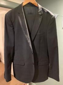 Men's DKNY slim fit suit - dark blue check